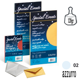 10 buste special events metal 120gr 110x220mm azzurro favini