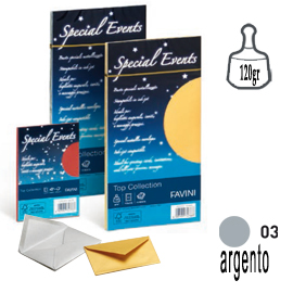 10 buste special events metal 120gr 110x220mm argento favini
