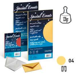 10 buste special events metal 120gr 110x220mm oro favini