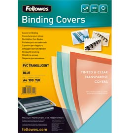 100 copertine colorate a4 pvc 200mic blu fellowes
