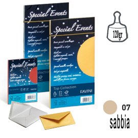 10 buste special events metal 120gr 110x220mm sabbia favini