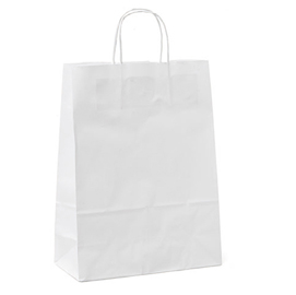 10 shoppers carta 54x14x45cm bianco neutro cordino