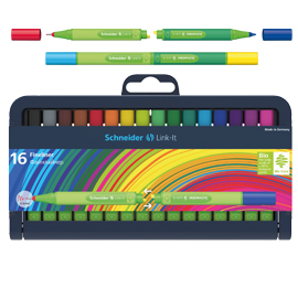 Astuccio 16 fineliner link-it 0,4mm colori ass. Schneider