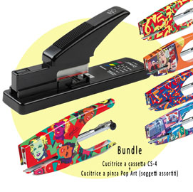 Bundle cucitrice a cassetta cs-4 + cucitrice a pinza pop art
