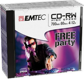 Cd-rw emtec rw 80min/700mb 4-12x jewel case (kit 5pz)