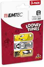 Conf da 3 pz memoria usb2.0 8gb lt01 titty-bugs bunny-daffy duck